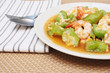 stir fried gourd with shrimp and egg on plate