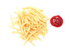 french fries and ketchup on white background