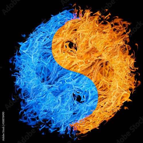 yin and yan symbol from flame isolated on black