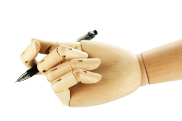 Wooden hand with pen isolated on white