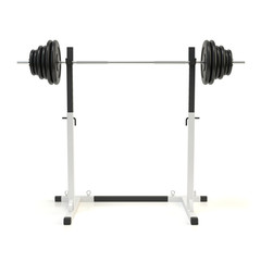 Squat rack. Adjustable barbell stand. Bench press station