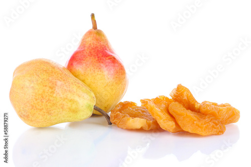 Dried pears, isolated on white