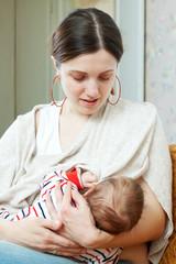 Nursing three-month baby