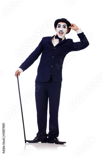 Poster Personification of Charlie Chaplin on white