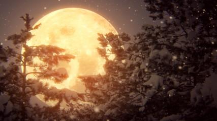 луна над зимним лесом