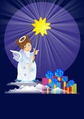 bożonarodzeniowe tło z aniołem,