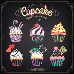 Cupcake collection. Chalking, freehand drawing