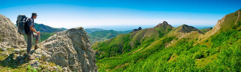 Hiker enjoys landscape