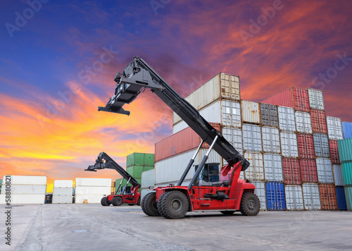 Crane lifting at container yard
