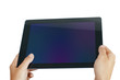 hands holding mobile pad