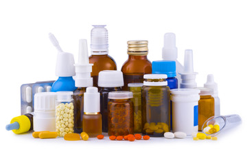 Composition of medicine bottles, pills and capsules