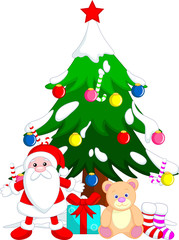 Christmas tree decorations and the prize santa claus
