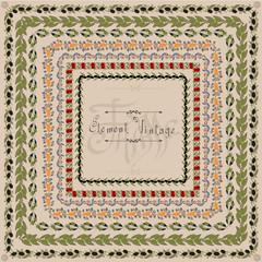 egde vintage pattern fruit olive frame