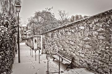 Paris sous la neige, style vintage