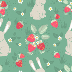 Rabbits and wild strawberries seamless pattern