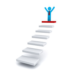 Businessman on the top of steps or stair over white background
