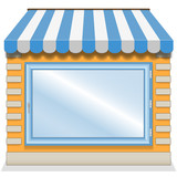 Cute shop icon with blue awnings.
