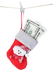Christmas Stocking Stuffed with Money isolated