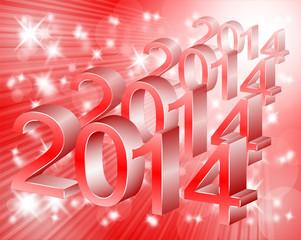 czerwone tło i Nowy Rok 2014