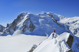 Group of Climbers Towards Aiguille du Midi