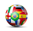Brazil 2014,football soccer ball with world teams flags