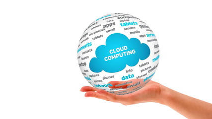 A person Holding a 3D Cloud Computing Word Sphere