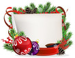 Christmas wreath with baubles and ribbons