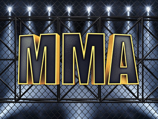 MMA text and sport stage lighting