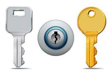Keys and keyhole icons