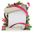 Scroll paper with ribbon and spruce branches
