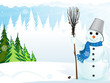 Snowman with broom and bucket