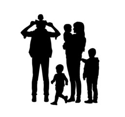 big family of four children and two parents silhouettes