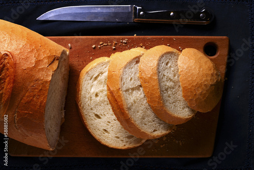 Sliced freshly baked baguette