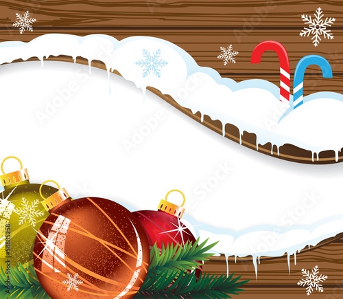 Wooden billboard with Christmas baubles