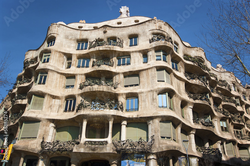 BARCELONA - APRIL 24: Casa Mila, or La Pedrera, on April 24, 201