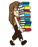 Nerd Girl Carrying Pile of Books