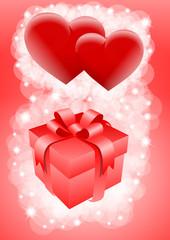 czerwony prezent i serca