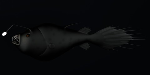 realistic 3d render of anglerfish