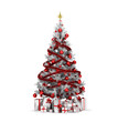 Isolated red Christmas tree with gold stars and presenrs