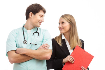 Doctor and finance specialist in hospital