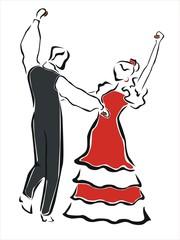 pareja bailando sevillanas