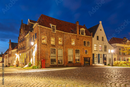 Evening view of the Dutch historic city centre of Deventer