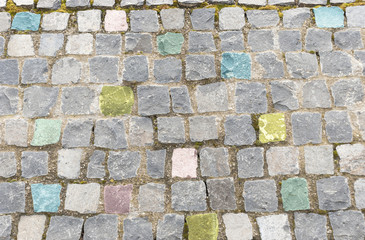 Elegant stone wall of a colored square parts