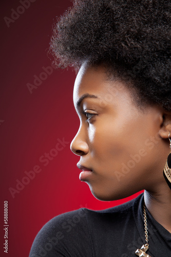 Young black beauty with afro hairstyle