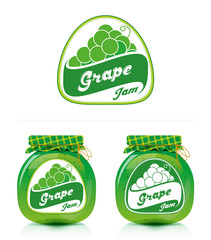 Grape jam label with jar