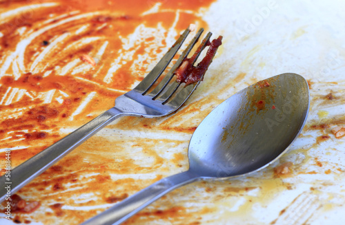 Greasy plate and fork after eating