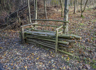 wooden bench made from natural resources