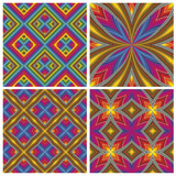 Psychodelic Pattern Set with optic 3D illusion
