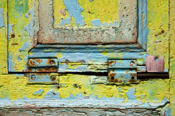 colorated green wood window
