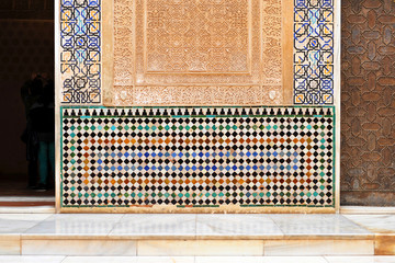 Palace of the Alhambra in Granada, islamic decoration, tiles